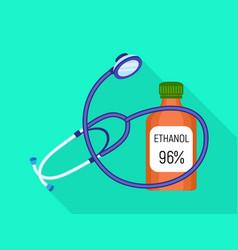 stethoscope ethanol bottle icon flat style vector image