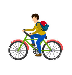 Student riding a bicycle vector