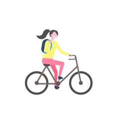 Student with backpack riding bike isolated vector