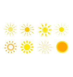 Sun icon set yellow sign collection summer vector