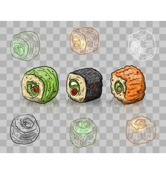 Sushi set on transparent background vector