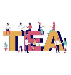 tea typography banner template flat vector image