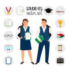 Teenagers college students young student people vector