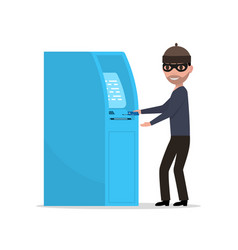 Thief robber trying to steal money from atm vector