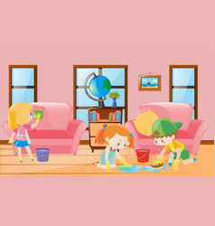 three children cleaning living room vector image