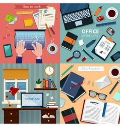 Time to Work Modern Workplaces at Office and Home vector