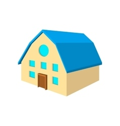 Two-storey house with blue roof cartoon icon vector