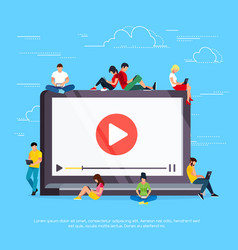 vlog young people are sitting on a laptop vector image