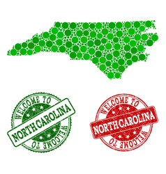 Welcome composition of map of north carolina state vector