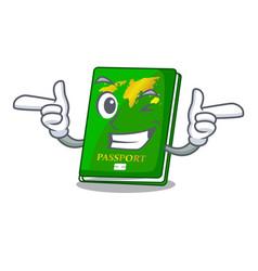 Wink green passport in the cartoon shape vector