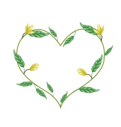 Yellow Magnolia Blossoms in A Heart Shape vector image