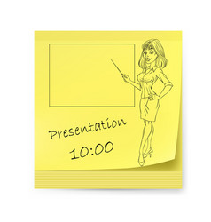 Yellow sticker with business woman and organizing vector