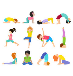 yoga kids young child yogi character vector image
