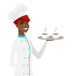 Young african-american chef holding tray with cups vector