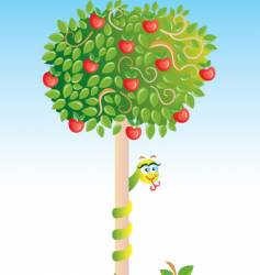 apple-tree with snake vector image