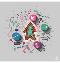 Arrows collage with icons background vector image vector image