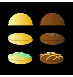 bun sandwich On a black background vector image vector image
