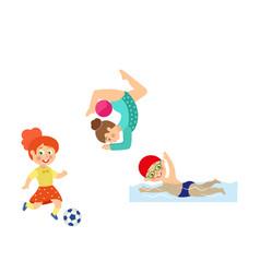 flat kids doing sports set vector image vector image