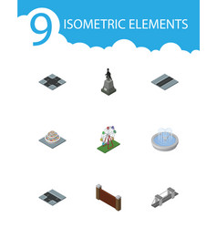 isometric city set of barrier park decoration vector image vector image