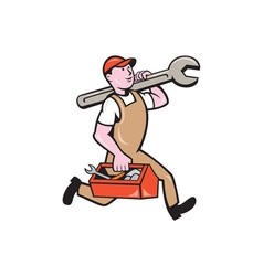 Mechanic Carrying Spanner Toolbox Running Isolated vector image vector image