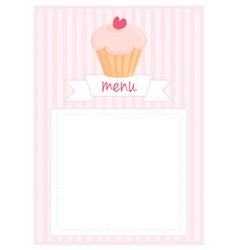 Restaurant menu pink strips retro card vector image vector image