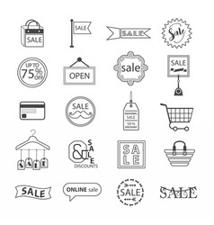 black line sale and shopping icons set on white vector image vector image