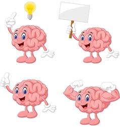 Cartoon funny brain collection set vector image
