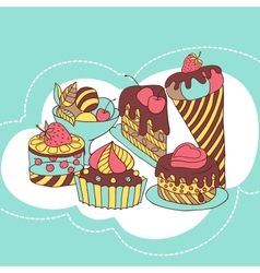 frame with and sweet little cupcakes vector image vector image