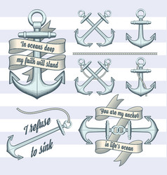 set of vintage anchors vector image