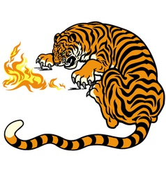 tiger with fire vector image vector image