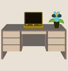 workplace desk computer plant top angle view flat vector image vector image