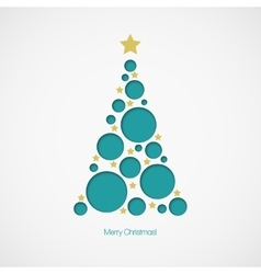 Christmas tree with dots and stars on white vector image