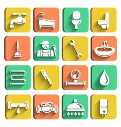 Plumbing tools icons set vector