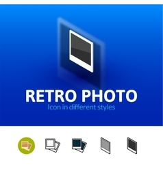 Retro photo icon in different style vector image vector image