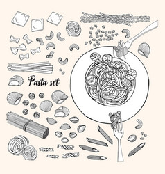 set of different types pasta hand drawn vector image vector image