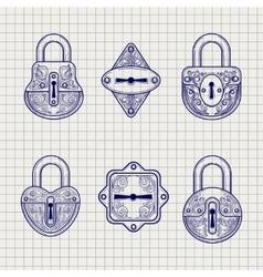 Set of hand drawn ornamental locks vector