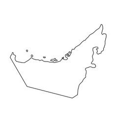 united arab emirates map of black contour vector image
