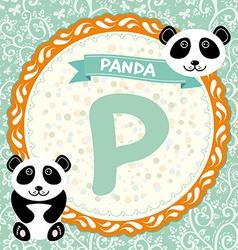 ABC animals P is panda Childrens english alphabet vector image
