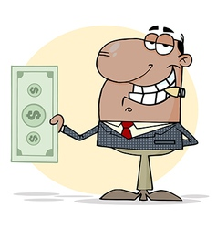African American Businessman Shows Big Dollar vector image vector image