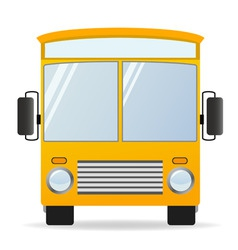 cartoon yellow bus in front view vector image vector image