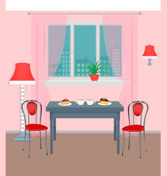 dinner room interior with coffee and dessert on vector image