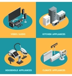 Household Appliances 4 Isometric Icons Square vector image