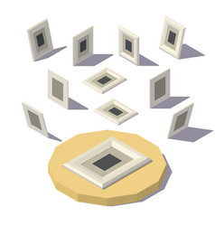 Isometric lowpoly picture frame vector