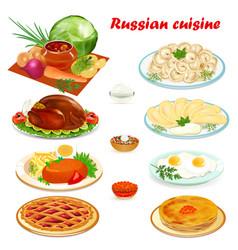 set of russian cuisine with soup dumplings vector image vector image