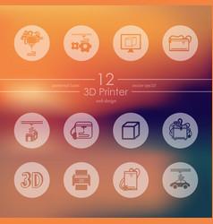 Set of three d printer icons vector