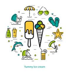 yummy ice cream - round line concept vector image vector image