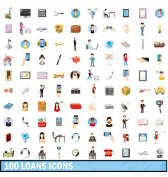 100 loans icons set cartoon style vector
