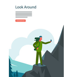 Adventure hiking mountian landscape tourist with vector