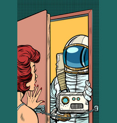 Astronaut came to visit a woman the door was vector
