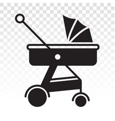 Baby carriage pram flat icon for apps or website vector
